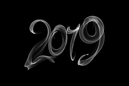 Happy new year 2019 isolated numbers lettering written with fire flame or smoke on black background