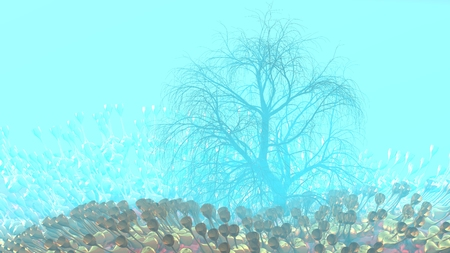 Mountain, fog, mist abstract meadow field full of strange vegetation in form of wine glasses and lit by bright sun god rays with lonely tree without leaves. Unusual 3d illustration. Travel and camping concept