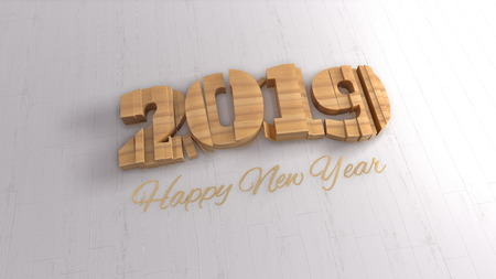 2019 isolated numbers lettering written by wood and golden Happy New year on white background. Selective focus macro shot with shallow DOF. 3d illustration