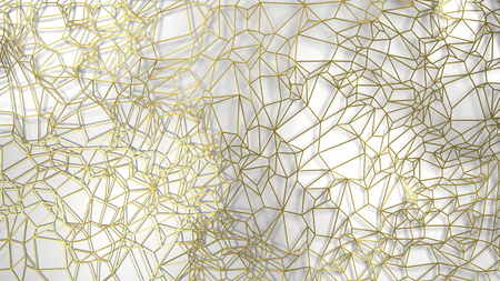 3d render, golden modern wall made by golden wire, random clusters triangle digital illustration, abstract geometric background texture. Wealth and Prosperity reach concept architecture Stock Photo