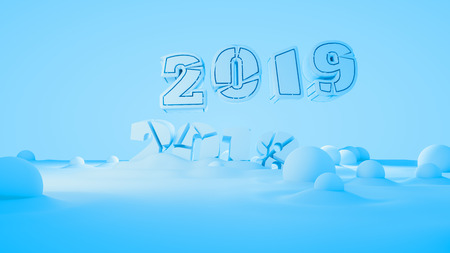 Happy new year 2019 swap 2018 broken isolated numbers lettering written by white stone or paper on blue background full of snowdrifts. 3d illustration