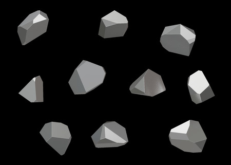 Crystal Stone gem macro mineral collection set of 10 units, quartz on black background. 3d illustration
