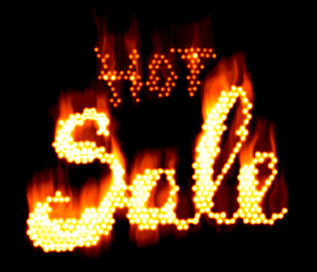 Hot SALE word made of fire in hot sparkly design on black background