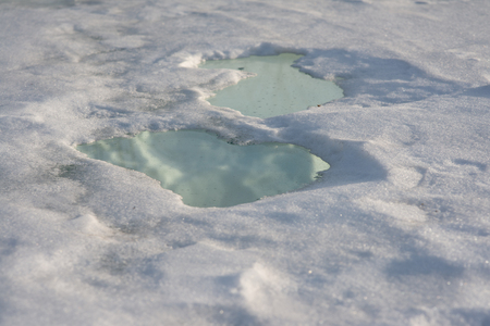 puddles on the snow, spring coming concept