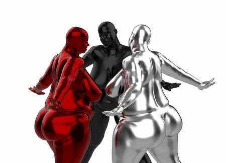 3 Fat naked girls of silver red, black. They stand spreading legs and arms in different directions and look to each other. 3d illustration Concept. Example of obesity and healthy lifestyle issues Imagens