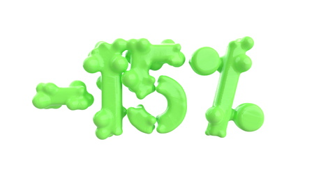 The sign -15off. Made of trendy fresh green matte metal material isolate on white background. 3d illustration Stock Photo