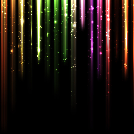 Abstract design background with chart equalizer columns bright sparks made by light, style vector illustration isolated on black.