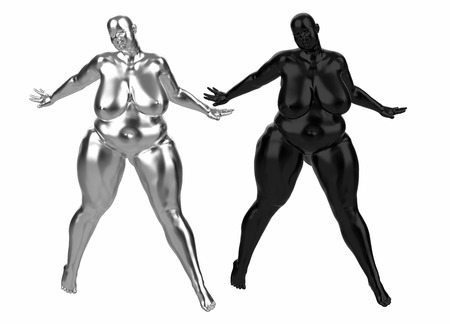 Two plump naked girls made of silver and plastic. They stands spreading legs and arms in different directions. 3d illustration Concept. Example of obesity and healthy lifestyle issues. frontal view