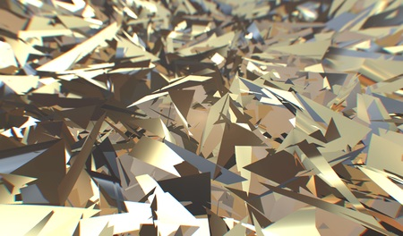 Glitch 3d render, golden modern shattered field texture, random triangles digital illustration, abstract geometric background. Wealth and Prosperity reach concept architecture