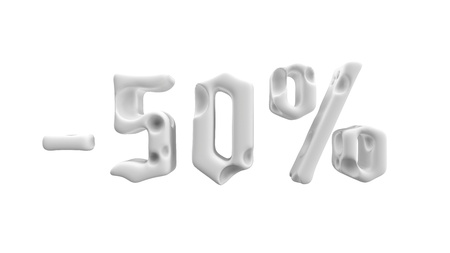 The sign -50off. Made of white matte materialB isolate on white background. Sale and advertising conceptual 3d illustration
