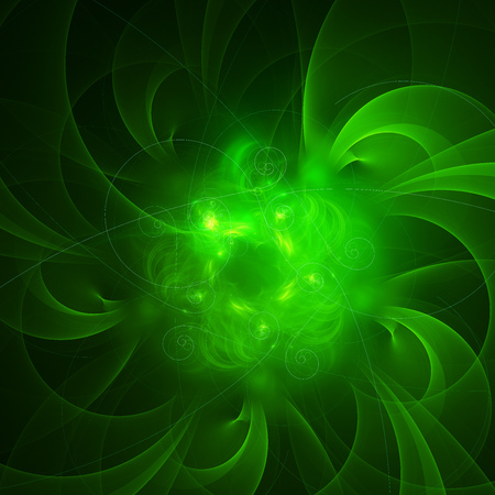 Glowing ligh green curved energy lines over dark Abstract Background space universe. Illustration