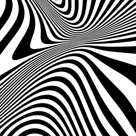 Striped abstract wavy background. black and white zebra print. illustration. Fashion fabric modern backdrop