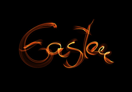 Happy Easter background written by fire flame or smoke. Invitation illustration greeting card, ad, promotion, poster, flyer, web-banner, article, social media