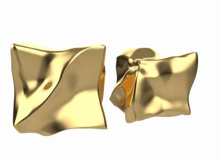 2 golden bars in the shape of boxes, 3D illustration isolated on white background. Conceptual depiction of success, wealth, and prosperity