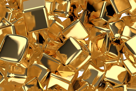 large pile of gold bars in the shape of boxes, 3D illustration detail closeup. Conceptual depiction of success, wealth, and prosperity