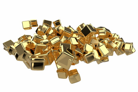 large pile of gold bars in the shape of boxes, 3D illustration isolated on white background. Conceptual depiction of success, wealth, and prosperity