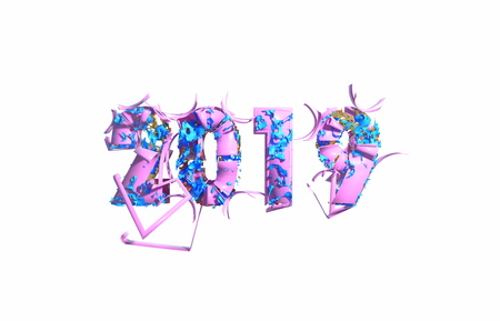 Happy New Year Banner with 2019 trendy pink color Numbers made by plastic and organic matterwhite Background. Abstract 3d illustration