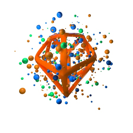 3d illustration of flying realistic primitives. Spherical shapes in motion isolated on white background oround polygonal wired molecular structure. Abstract theme for your trendy designs in blue, green and orange colors. conceptual composition Stok Fotoğraf