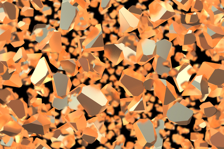 Abstract 3d rendering of geometric shapes. Computer generated minimalistic background with broken chunks of gold. Modern design for poster, cover, branding, banner, placard over black backdrop Stok Fotoğraf