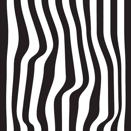 Striped seamless abstract background. black and white zebra print. Vector illustration.