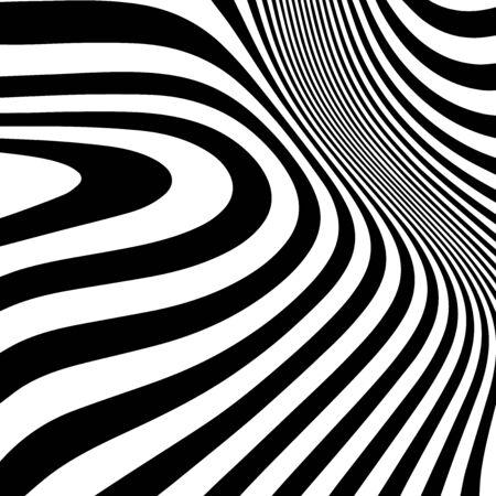 Striped abstract wavy background. black and white zebra print. illustration. Fashion fabric modern backdrop 写真素材