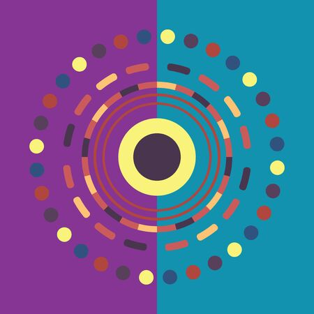 Technology colorful round background. Abstract digital illustration. connection concept. Electronic round design. Modern abstraction lines and points.