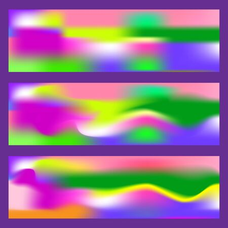 Abstract fluid 3d shapes trendy liquid colors banners set. Graphic mountain composition illustration. Modern template for brochure, leaflet, flyer, cover, catalog in square size.