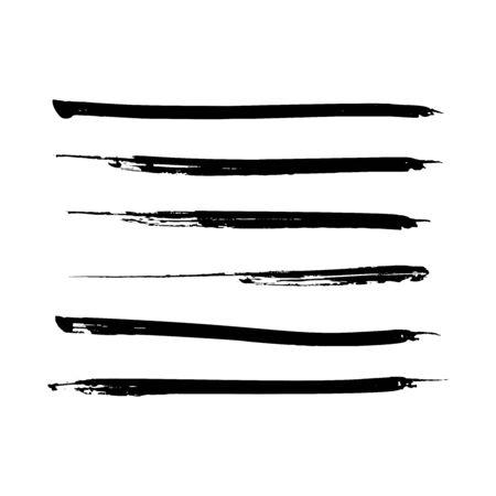 Set of black paint, ink brush strokes, lines. Dirty artistic design elements. Vector. Illusztráció