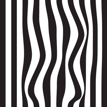 Striped abstract background. black and white zebra print. seamless illustration Фото со стока