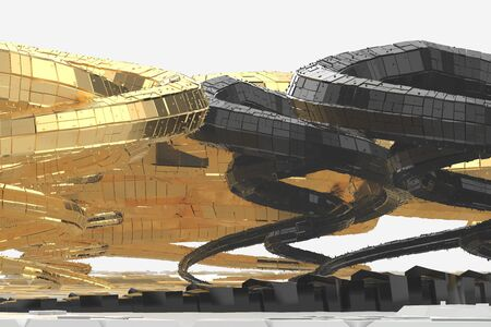 Abstract modern future architecture contains strange-shaped buildings in the form of spirals directed upwards. facade cladding is made in black shiny material, as well as in gold. 3d illustration