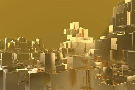 Wealth rich concept idea Golden city at sunset rays Abstract space background.3D illustration rendering Stok Fotoğraf