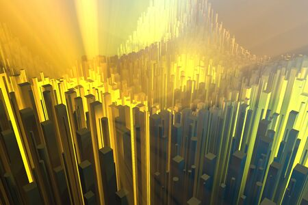 Wealth rich concept idea white city towers at sunset rays Abstract space background.3D illustration rendering Stok Fotoğraf