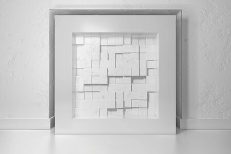 Minimalism, mock up poster, 3d illutration interior. White frame in a niche in the plastered wall filled with chaotic shifted boxes blocks Stok Fotoğraf