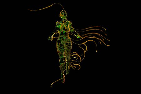 Abstract Flying female figure is wrapped up by branches of magic plant isolated on black background. Halloween 3d illustration