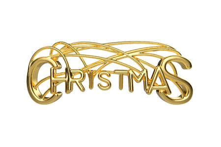 Christmas elegant golden lettering word with letters bound by strings isolated on white background. Holyday 3D illustration Stok Fotoğraf - 133782639