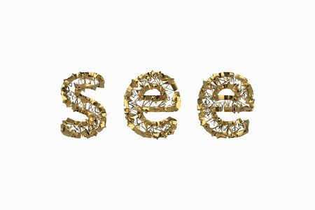 The word See is made by gold wired jewelry letters isolated on white background. 3D illustration image Stok Fotoğraf