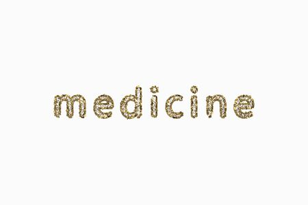 medicine - word abstract lettering made by golden wire jewelry structure. 3d illustration isolated on white background Stock fotó