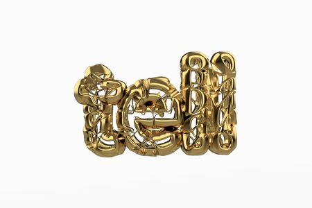 The word Tell is made by gold wired jewelry letters isolated on white background. 3D illustration image Stok Fotoğraf - 133782643
