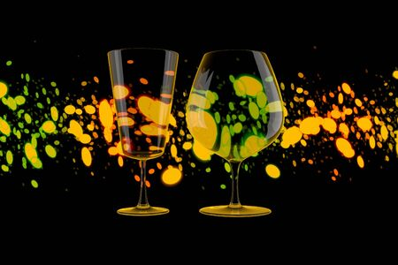 Close up on pair of empty wine Glasses over Lights Bokeh Background. 3d illustration