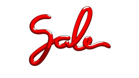 Sale lettering word made by red baloon stripe in cartoon style Stock fotó - 133782647