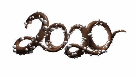Happy New Year Banner with 2020 Numbers made by glossy chocolate with sugar balls isolated on white Background. abstract 3d illustration creative lettering