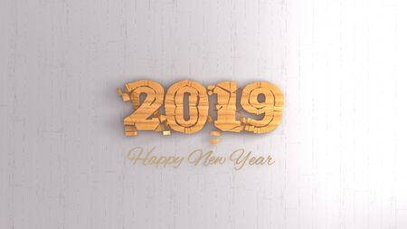 Happy new year 2019 isolated numbers lettering written by wood on white background. 3d illustration