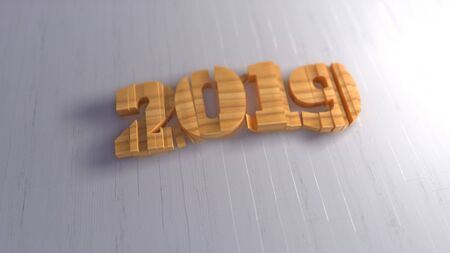 Happy new year 2019 isolated numbers lettering written by wood on white background. Selective focus macro shot with shallow DOF. 3d illustration Stok Fotoğraf - 133782702