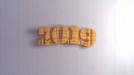 Happy new year 2019 isolated numbers lettering written by wood on white background. 3d illustration Stok Fotoğraf - 133782699