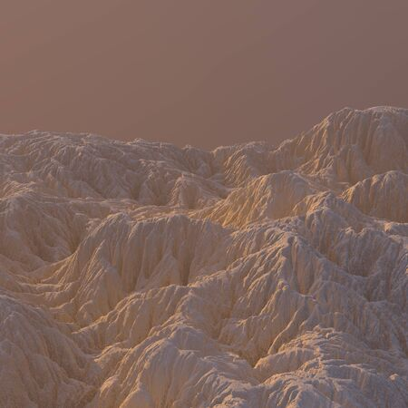 3D Illustration sandy Mountain Landscape. Mountainous Terrain. Abstract Background shot from top plane 写真素材