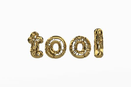 The word Tool is made by gold wired jewelry letters isolated on white background. 3D illustration image