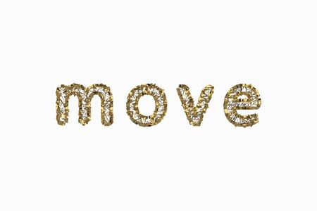 The word Move is made by gold wired jewelry letters isolated on white background. 3D illustration image Stok Fotoğraf - 133782822