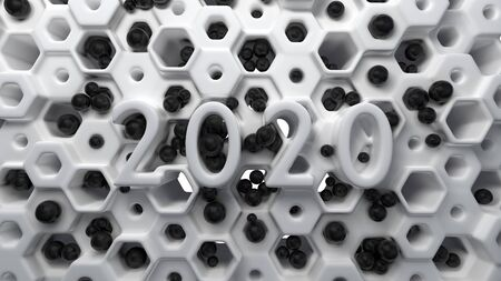 Happy New Year Banner with 2020 Numbers lettering made by white plastic on hexagonal honeycomb modern grid structure with black balls. abstract 3d illustration Zdjęcie Seryjne
