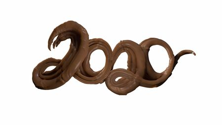 Happy New Year Banner with 2020 Numbers made by chocolate or brown caramel isolated on white Background. abstract 3d illustration creative lettering