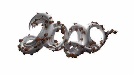 Happy New Year Banner with 2020 Numbers made by sugar white caramel and chocolate balls isolated on white Background. abstract 3d illustration creative lettering